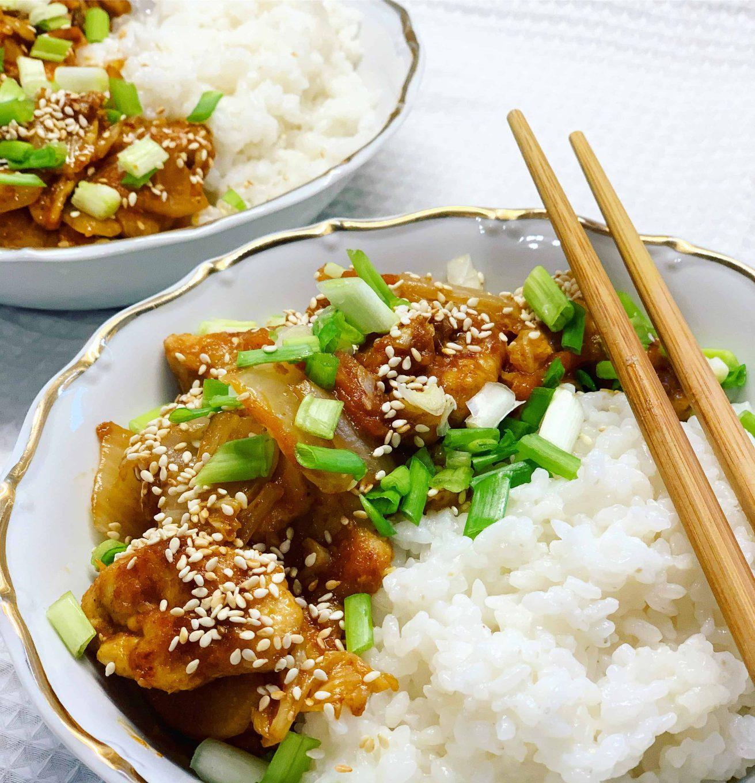 Vištiena su kimchi ir ryžiais